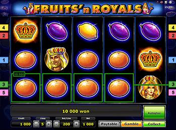 Автоматы с бонусами Fruits and Royals